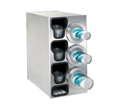 Dispense-Rite BFLC3RSS Cup Dispensing Cabinet, (3) 8-44 oz Cups on Right, (3) Lid Chutes, (1) Straw