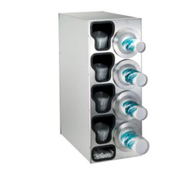 Dispense-rite BFLC4RSS Cup Dispensing Cabinet, (4) 8-44 oz Cups on Right, (4) Lid Chutes, (1) Straw