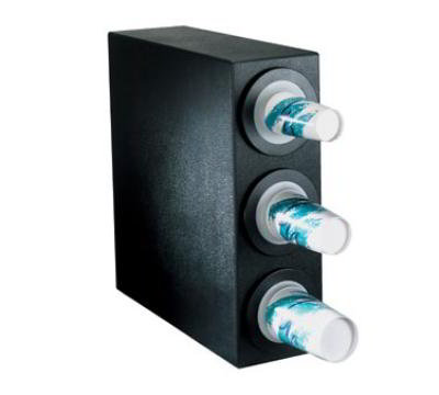 Dispense-rite BFLS3BT Cup Dispensing Cabinet, (3) 8-44 oz Cups, Black Texture Polystyrene