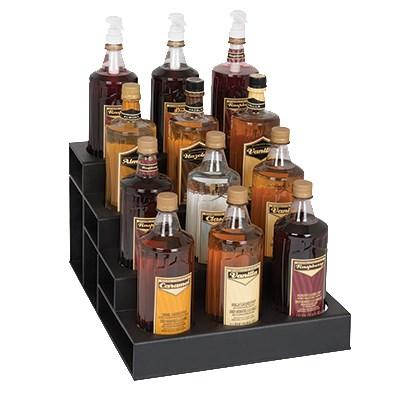 Dispense-rite CTBH-12BT 4-Tier Bottle Organizer w/ 12-Bottle Capacity - Polystyrene, Black