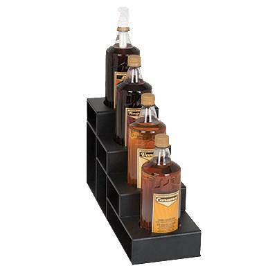 Dispense-rite CTBH-4BT 4-Tier Bottle Organizer w/ 4-Bottle Capacity - Polystyrene, Black