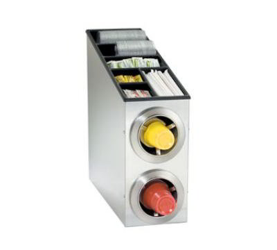 Dispense-rite CTCL2SS Cup Dispensing Cabinet, (2) 8-44 oz Cups, Top for Lids, Straws & Condiments