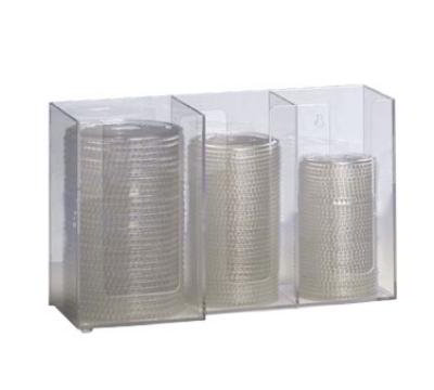 "Dispense-rite CTHL3 Lid/Cup Organizer, 3 Section: (2) 4""& (1) 5 in, Acrylic, Clear"