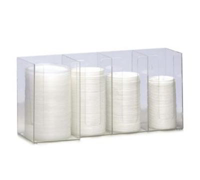 Dispense-rite CTHL4 Lid/Cup Organizer, 4 Section: (3) 4 in & (1) 5 in, Acrylic, Clear