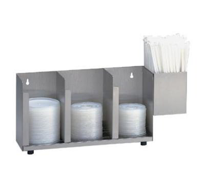 Dispense-rite CTLD15A Lid/Cup Organizer, Adjustable, 3 Section, Straw Attachment, Stainless Steel