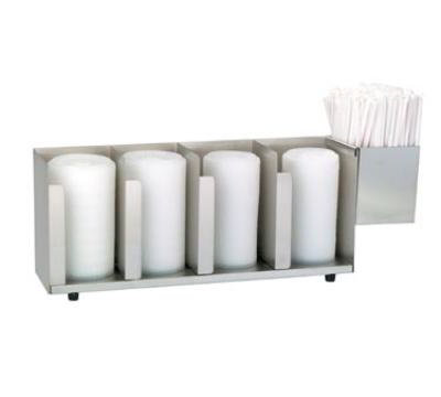 Dispense-Rite CTLD19A Lid/Cup Organizer, Adjustable, 4 Section, Straw Attachment, Stainless Steel