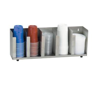 "Dispense-rite CTLD22 Lid/Cup Organizer, Adjustable, 5 Section, 22-1/2""W, Stainless Steel"