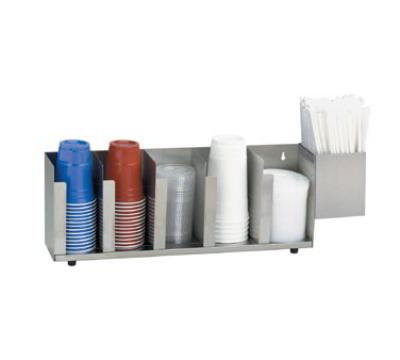 Dispense-Rite CTLD22A Lid/Cup Organizer, Adjustable, 5 Section, Straw Attachment, Stainless Steel