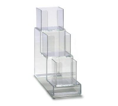 Dispense-rite CTVL3 Lid Organizer, Vertical, 3 Section: (1) 4 in & (2) 5 in, 6 in W, Acrylic, Clear
