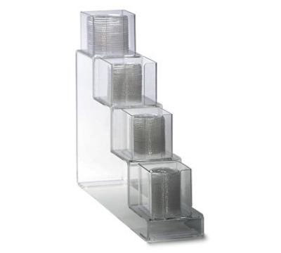 "Dispense-rite CTVL4 Lid Organizer, Vertical, 4 Section: (2) 4""& (2) 5 in, 6""W, Acrylic, Clear"