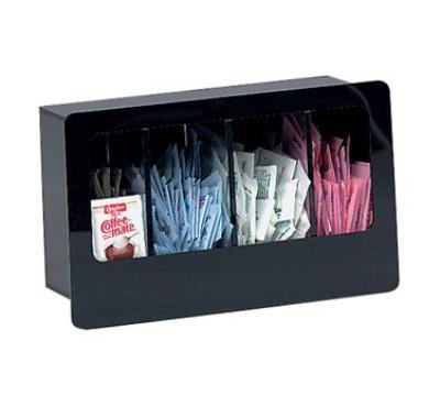 Dispense-rite FMC4 Condiment Dispenser, Built-In, 4 Section, Acrylic, Black