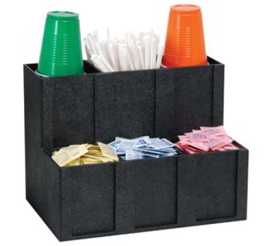 "Dispense-rite MCD-6BT 6-Section Organizer w/ Removable Dividers, 11-3/4 x 15 x 10"", Black"