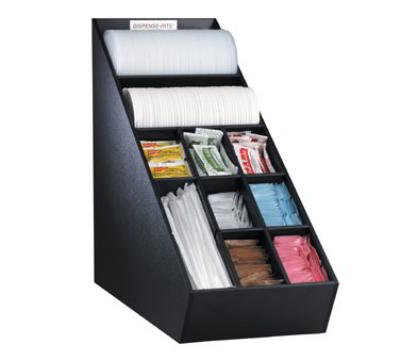 Dispense-rite NLO1B Lid, Straw & Condiment Organizer, Narrow, Removable Section Dividers, Black