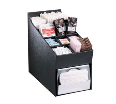 Dispense-rite NLOADNH Napkin Dispenser & Condiment, Straw Organizer, Full Fold Napkins, Black