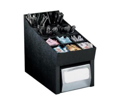 Dispense-rite NLOSWNH Silverware, Condiment & Napkin Organizer, Full Fold Napkins, Black Polystyrene