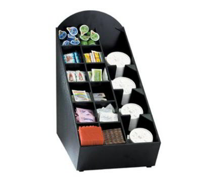 Dispense-Rite NLOWVL Lid, Straw & Condiment Organizer, 20-1/2 in H x 11-1/2 in W x 21-3/4 in D, Black