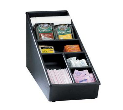 Dispense-rite NLS1BT Lid, Straw & Condiment Organizer, Wide, Polystyrene, Black