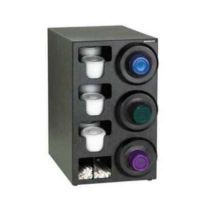 Dispense-rite SLRC3RBT Cup Dispensing Cabinet, (3) 8-44 oz Cups on Right, (3) Lid, (2) Straw, Black