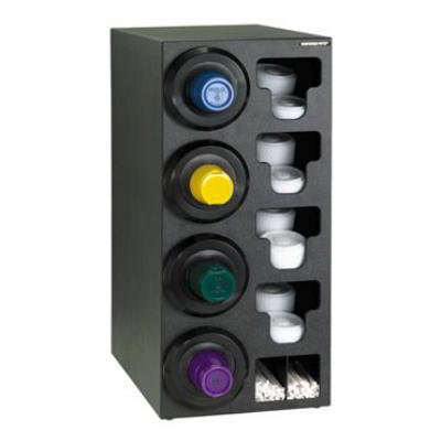 Dispense-rite SLRC4LBT Cup Dispensing Cabinet, (4) 8-44 oz Cups on Left, (4) Lid, (2) Straw, Black