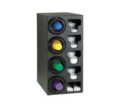 Dispense-Rite STLC4LBT Cup Dispenser Cabinet, (4) 8-44 oz on Left, (4) E-Z Slide Lid, (2) Straw, Black