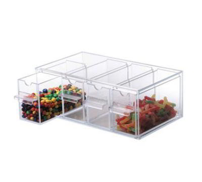Dispense-rite TD4 Topping Dispenser, 4 Section, 5-1/8 in H x 13-5/8 in W x 8 in D, Clear Acrylic