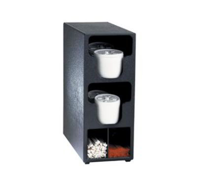Dispense-rite TLO2BT Lid & Straw Organizer, 2 Lid Sections, Black Polystyrene