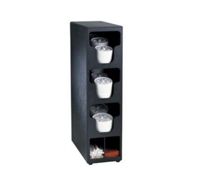 Dispense-rite TLO3BT Lid & Straw Organizer, 3 Lid Sections, Black Polystyrene