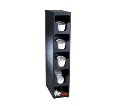 Dispense-Rite TLO4BT Lid & Straw Organizer, 4 Lid Sections, Black Polystyrene
