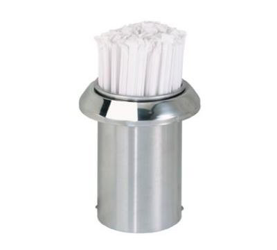 "Dispense-rite TSD1C Straw Holder, Built-In, 5-3/8"" Dia x 6""L, Stainless Steel"