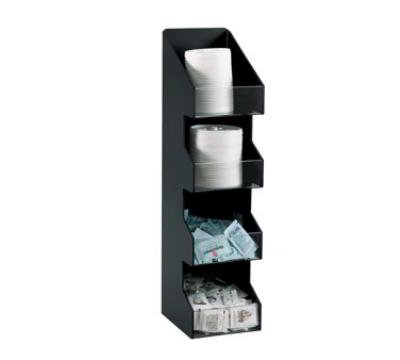 Dispense-rite VCO4 Lid or Condiment Organizer, 4 Section, Black Polystyrene