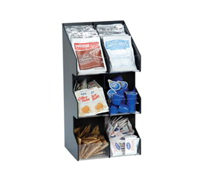 Dispense-rite VCO-6 BLK 6-Section Lid/Condiment Organizer, Black