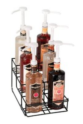 Dispense-rite WRBOTL6 Bottle Organizer, Wire Rack, 6 Section, Reinforced Welded, Black