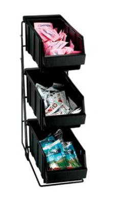Dispense-rite WRCOND3 Packeted Condiment Organizer, 3 Section, Wire Rack w/ Bins, Black