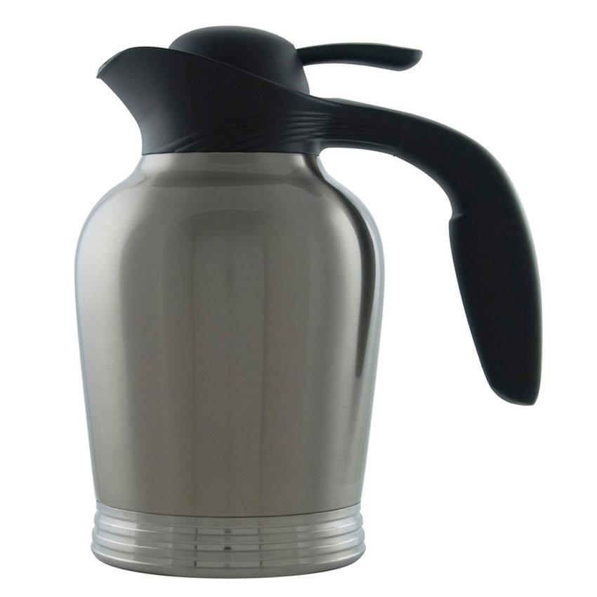 Service Ideas 10-00007-000 1-liter Vacuum Carafe w/ No Drip Lip, Stainless Insulation