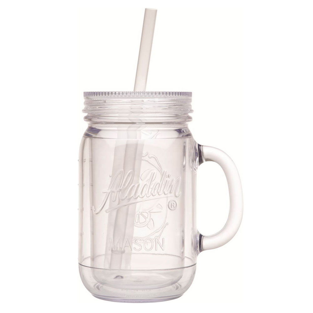 Service Ideas 10-01494-005 20-oz Tumbler w/ Lid & Straw - Insulated, Clear Plastic