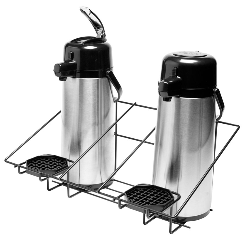 Service Ideas APR2BLC Airpot Serving Rack w/ 2-Compartments, Removable Drip Trays, Black