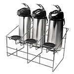 Service Ideas APR3BLC Airpot Serving Rack w/ 3-Compartments, Removable Drip Trays, Black