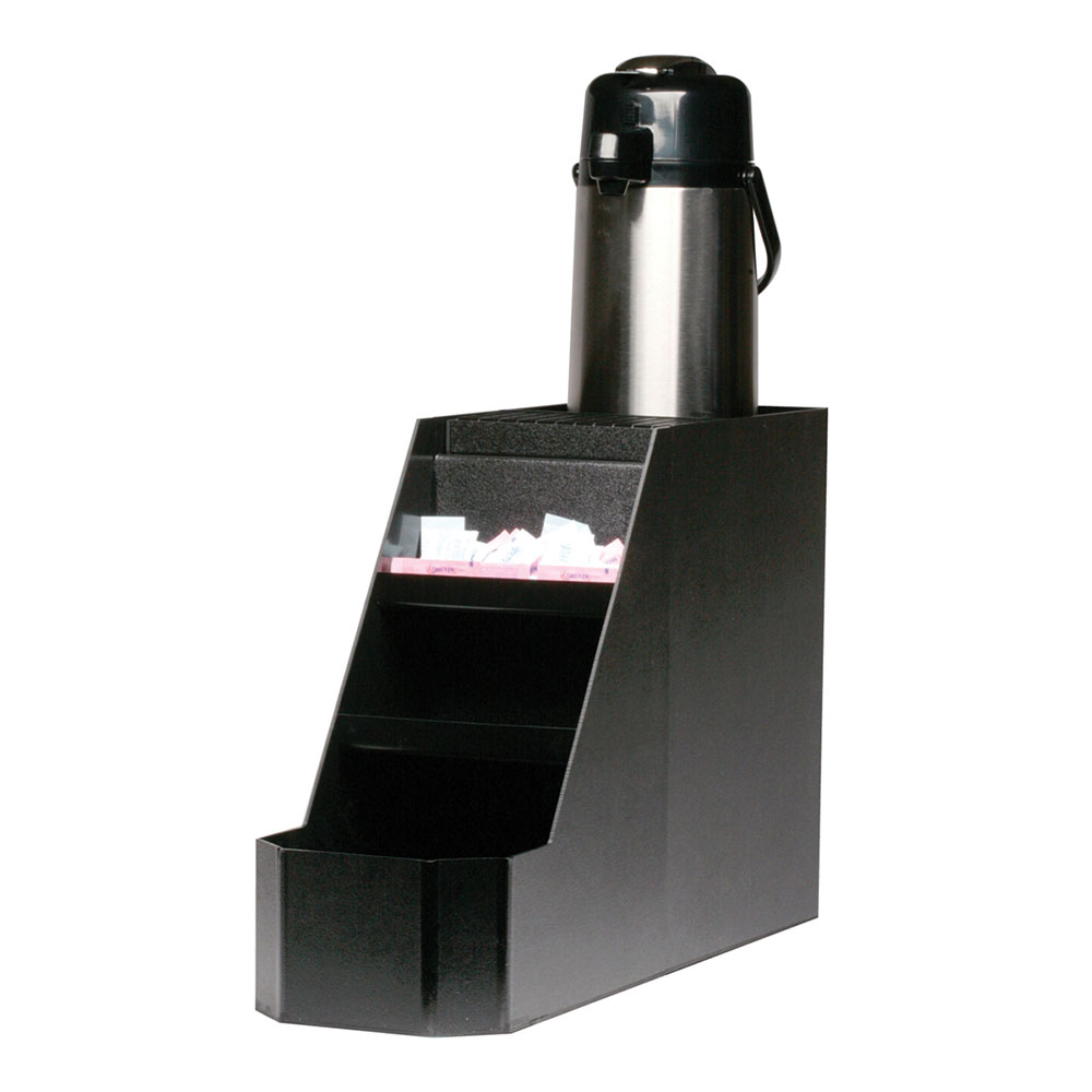 Service Ideas APS1CBL Airpot Stand w/ 3-Compartments For Condiments, Holds 1-Airpot