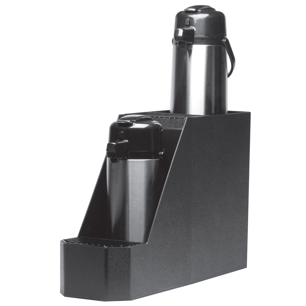 Service Ideas APS2BL Airpot Stand w/ Reinforced Corners, Holds 2-Airpots, Black Plastic