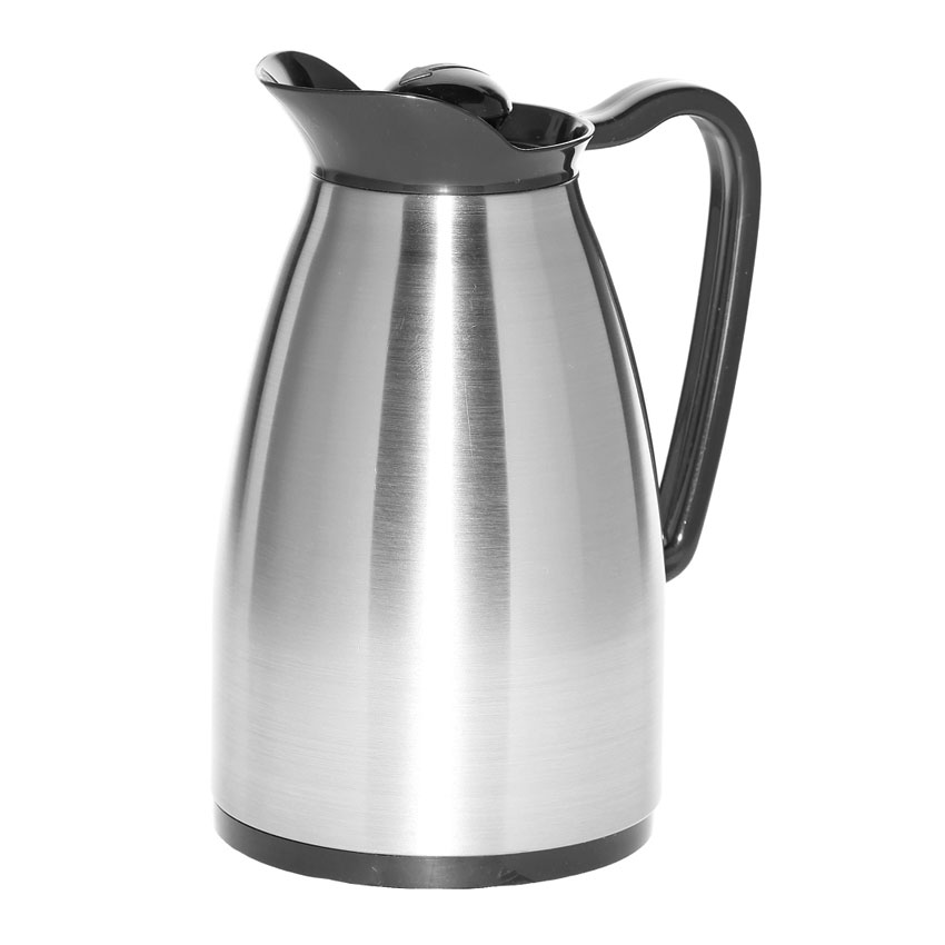 Service Ideas CGC060SS .6-liter Carafe w/ Glass Interior, Brushed Stainless, Black