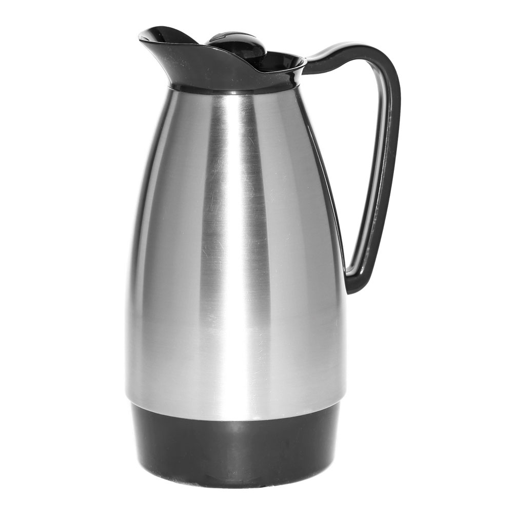 Service Ideas CGC101SS 1-liter Carafe w/ Glass Interior, Brushed Stainless, Black