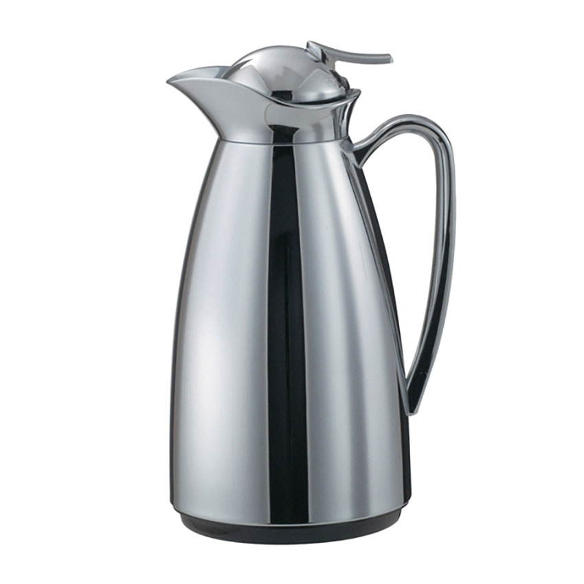 Service Ideas CJ1CH 1-liter Vacuum Carafe w/ Glass Liner, Chrome
