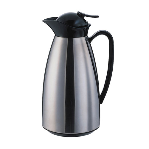 Service Ideas CJ6SS .6-liter Vacuum Carafe w/ Glass Liner, Brushed Stainless, Black
