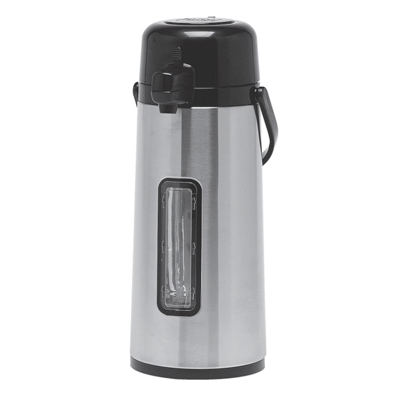Service Ideas ECA22SG 74.4-oz Airpot w/ Pump, Vacuum Insulated, Glass Interior, Stainless Exterior