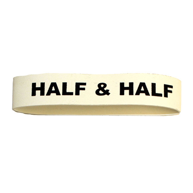 Service Ideas FBHALF&HALF Non-Toxic Rubber Label-Half & Half