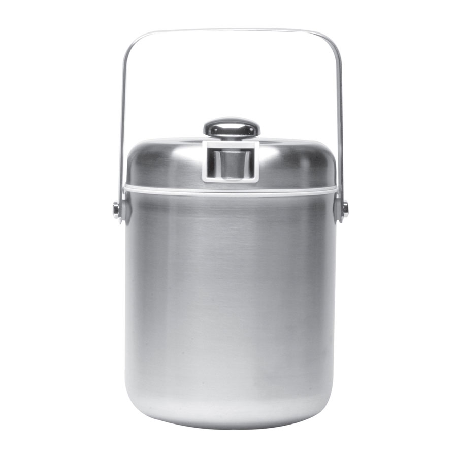 Service Ideas IBT15BS 1.5-liter Ice Bucket w/ Tongs, White Interior, Brushed Stainless