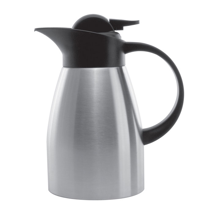 Service Ideas KVP1000 1-liter Stainless Touch Coffee Server, Brushed Stainless & Black