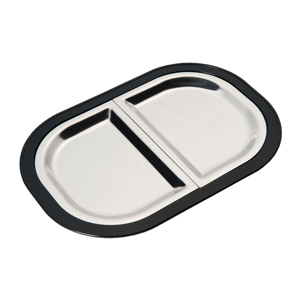 Service Ideas LO125BLC Complete Rectangular Platter Set, Divided, Large, Stackable, Black