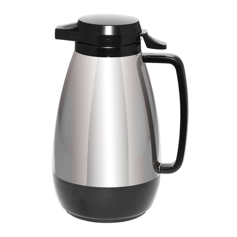 Service Ideas ML101CH/BL 1-liter Coffee Server w/ Push Button Lid, Chrome & Black