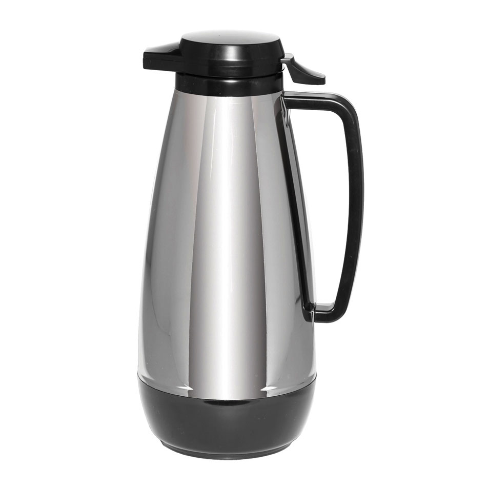 Service Ideas ML315CH/BL 1.5-liter Coffee Server w/ Push Button Lid, Chrome & Black